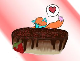 .:Art Trade:. Ruby and cake by Shinx07