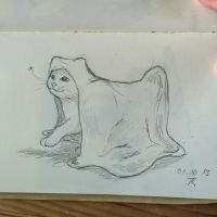 Daily drawing challenge day 27: ghost kitty ? by Chayt