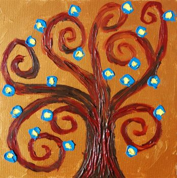 Tree of life with blue flowers by davepuls