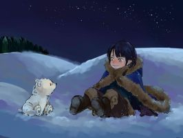 little Fingon and little polar bear by luthienelf