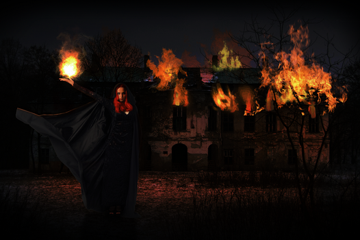 The night writhes in flame. by RAYNExstorm