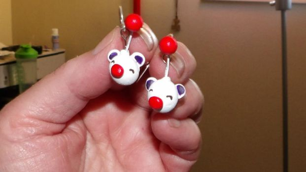 Moogle earrings by MadMother88