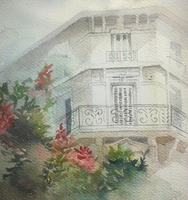 Balcony In Watercolors by Ayjee