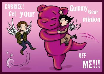 Cas vs A Giant Gummy Bear by blackbirdrose