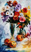 Her Flowers by Leonid Afremov by Leonidafremov