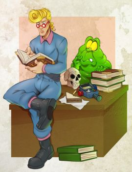 Commission: Egon studying by zillabean