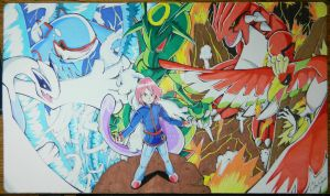 Custom Playmat: Trainer Silver and his Pokemon by ccayco