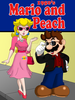 1950s Mario and Peach by FamousMari5