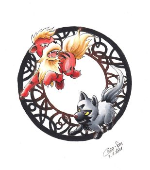 Growlithe and Poochyena by Mahira-K
