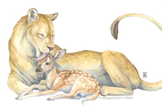 Mother lioness by shinigamigirl