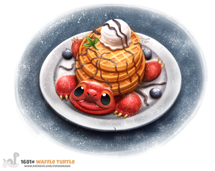 Daily Painting 1681# Waffle Turtle by Cryptid-Creations