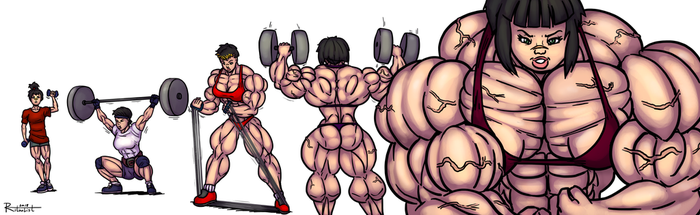 Jo's muscle growth over the years by Ritualist