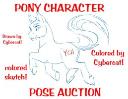 Pony Colored Sketch Auction Colored by Cybercat by lady-cybercat