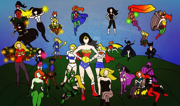 Women of DC Comics run the world [REDRAW] by Youngjusticeaddict