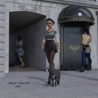 Dog Walking in Paris by black-Kat-3D-studio