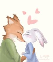 Nick x Judy   Zootopia   Nose kiss by garing-ging