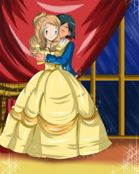 amourshipping beauty and beast dress by hikariangelove