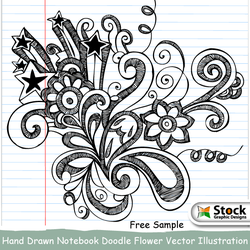 Hand Drawn Notebook Doodle Flower Vector by Stockgraphicdesigns