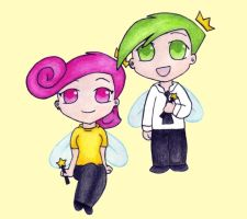 Chibi Cosmo and Wanda by shay101
