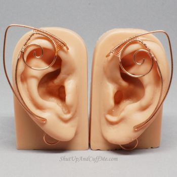 Copper Spiral Elf Ears / Ear Cuffs by Gailavira