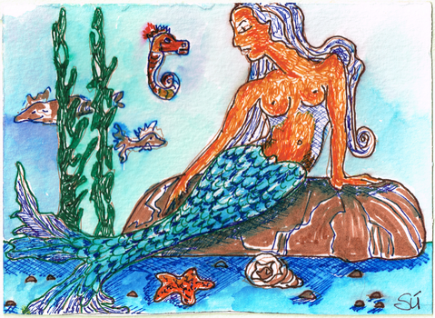 Mermaid and Seahorse 600dpi by exclusivelysu