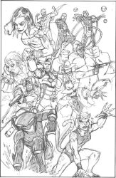 Commission: Legion of Doom (pencils) by CrimeRoyale
