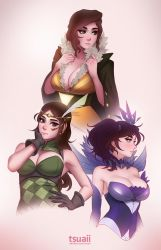 Mea as Red, Noire, and Elementalist Lux by tsuaii