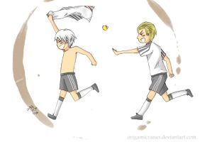 Prussia scores a goal by origamicranes