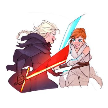 Sketch - Elsa and Anna play Star Wars by charlestanart