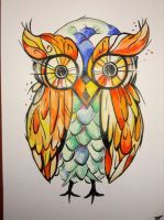 Acrylic owl painting tattoo style art by billyboyuk