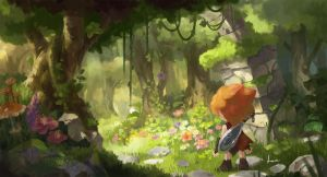 Forested path by Deviantcloverlee