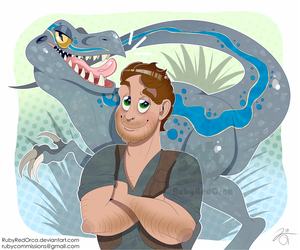 Just a guy and his VELOCIRAPTOR by RubyRedOrca
