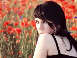 Among the poppies. by Krasska