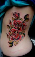roses ribs by tattooneos