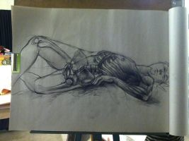 Life Drawing Anatomy Study of Bones and Muscles by miss-a-r-t