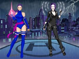 Psylocke from Earth-616 and Psykeye from Earth-687 by anironbutterfly