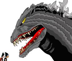 Goku and Vegeta meet Godzilla by BigJohnnyCool