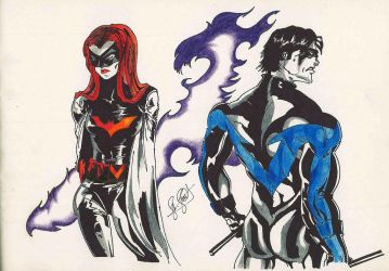 Batwoman and Nightwing by saad-21