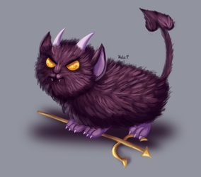 Tiny Fluffy Satan by AClockworkKitten