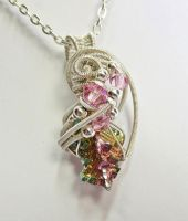 Bismuth and Swarovski Crystal Pendant in Silver by HeatherJordanJewelry