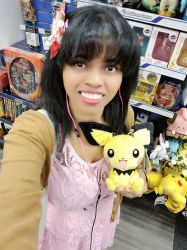 Here is me holding Pichu (Pokemon plushie) by 8TeamFriends8