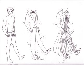 Tenth Doctor Paper Doll by Kynaii