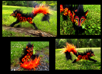 --SOLD--Poseable Hand Made FIRE WOLF! by Wood-Splitter-Lee
