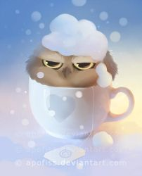 cup of owl ( wallpaper ) by Apofiss
