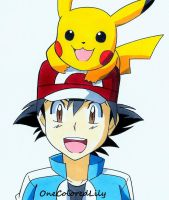 Ash and Pikachu by OneColoredLily