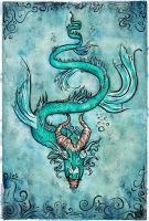 Abyss dragon watercolor by ElenaZambelli