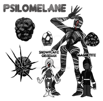 Psilomelane, Snowflake Obsidian and Magnetite by dapcat