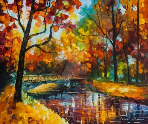 Forest Stream Under The Bridge by Leonid Afremov by Leonidafremov