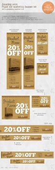 Retro Paper-cut Web Marketing Banners by graphcoder