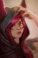 Xayah Fan art by bluishsalt
